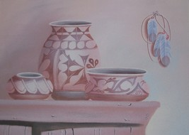 MYUNG MARIO JUNG POTTERY STILL LIFE ART SAND PAINTING - $579.84