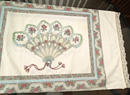 """Vintage Pillowcase Fan and Floral Design with Lace Trim 18 1/2"""" x 32"""" #5147A - $4.99"""