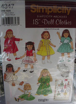 "Retro American Doll Clothes Pattern 4347 (cut) for 18"" Girl Dolls - $6.99"