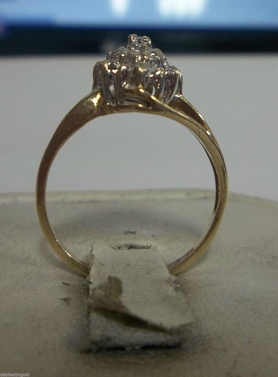 Cly 10k Yellow Gold Diamond Cer Ring Sz 5 S 1st Beautiful La