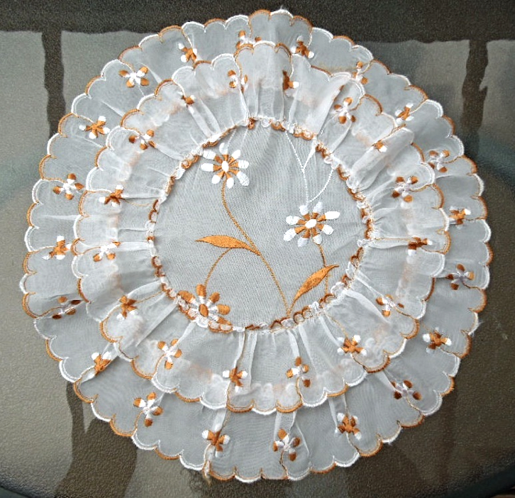 "Vintage Doily - 13"" Double Layered Floral Embroidered Ruffled Sheer Doily #4669"