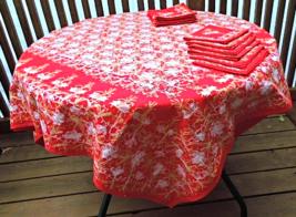 """Vintage East Indian Hand Embroidered """"Celebration"""" Tablecloth, 12 Napkins #5692 - $84.00"""