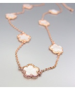 ELEGANT 18kt Rose Gold Plated Mother of Pearl Shell CLOVER CLOVERS Necklace - £22.93 GBP