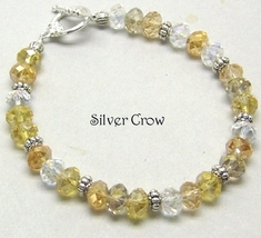 Amber, Smoke Gray & Clear Crystal Bracelet - $18.99