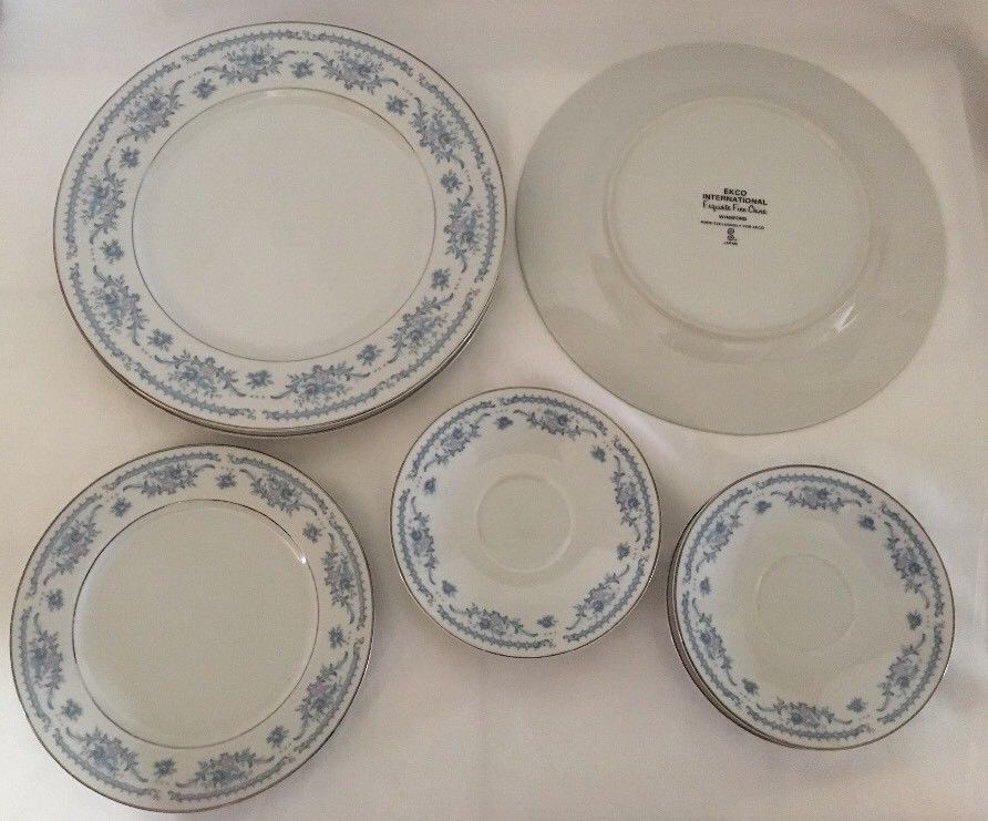 Winsford Ekco Fine China Blue And Pink Japan Plates Saucers