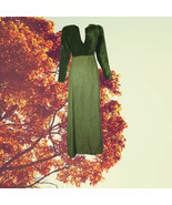 1960s vintage green velvet metallic maxi prom dress size extra small xs ... - $49.99
