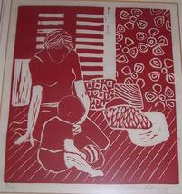 Mother & Child Wood Block Print Framed & Signed Amadeios  # 1/10 - $337.89