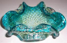 Murano Hand Blown Turquiose Blue Bullicante Stardust Designed Glass Display - $152.64