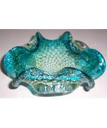 Murano Hand Blown Turquiose Blue Bullicante Stardust Designed Glass Display - $152.64