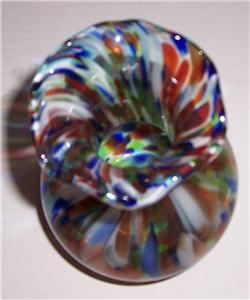 Murano Stretched Venetian Style Bulbous Glass Vase Display