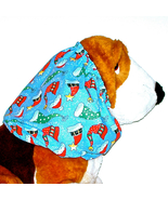 Dog Snood Blue Multicolor Holiday Hats Sparkle Cotton Christmas Size Large - $12.50