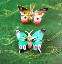 1930s Hand Painted Butterfly Brooch Set Vintage Bridesmaid Gifts Lapel f... - $35.00