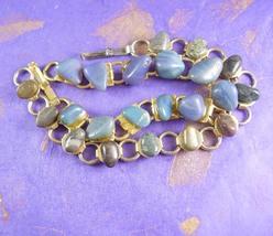 1940s Pair of Tumble Rock Bracelets Vintage Semi Precious Stones Mother ... - $25.00
