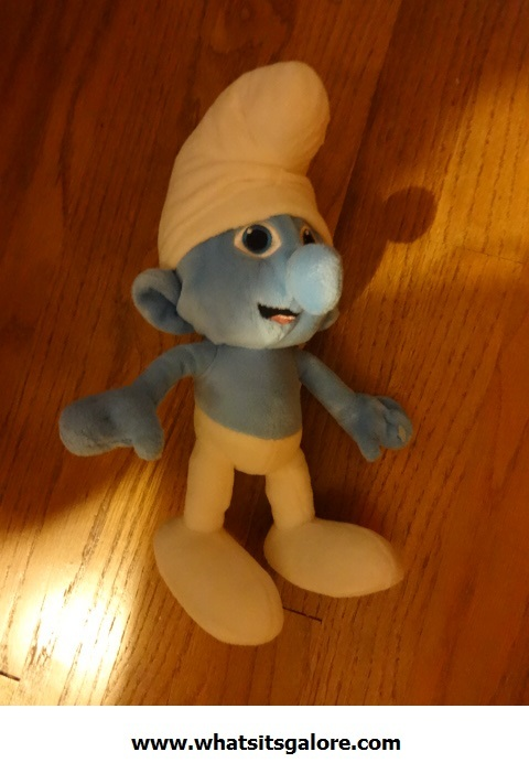 SMURF Ice Capades pinback button + jointed plastic figure + PVC