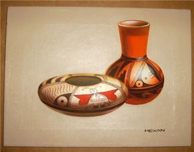 NATIVE AMERICAN INDIAN CLAY POTTERY PAINTING BY MEXAN
