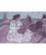 NATIVE INDIAN PRINT BY JUDAICA BATIK ARTIST GOLDFARB #2 - $62.45