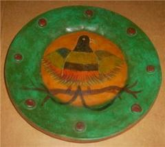 NATIVE MEXICO PHEASANT BIRD POTTERY PLATE PLATTER - $132.18