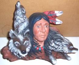 NAVAJO NATIVE AMERICAN INDIAN MAN & WOLVES POTTERY - $94.14
