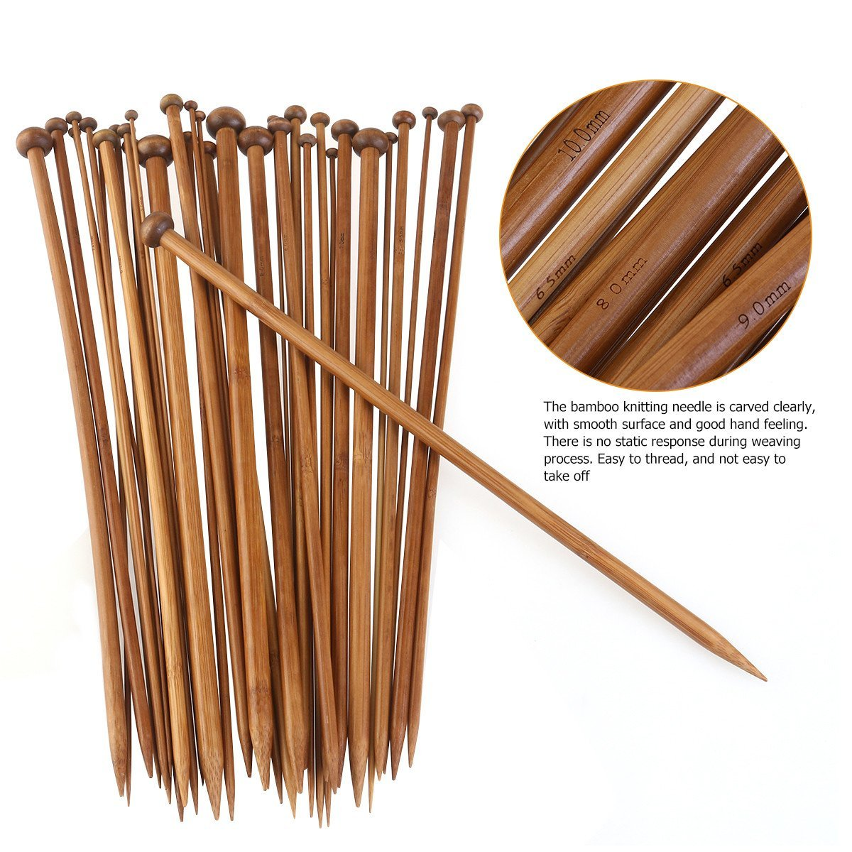FOXNOVO 18 Pairs Professional Carbonized Bamboo Single Pointed Knitting Needles