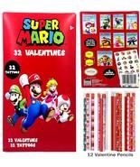 Nintendo Super Mario 32 Valentines with Tattoos and pencils - $12.99