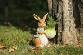 Polyresin,Cute Bunny Planter Brown Rabbit,Animals Flower pot,Flower Bask... - $33.00