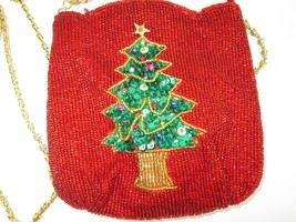 Elegant Beaded Christmas Tree Purse Small Sequined & Fed Beads Gold Chai... - $28.05