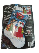 Christmas Stocking Under The Mistletoe KIT Snowman Kissing 28059 J&P Coats - $21.33