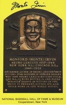 Monte Irvin (d. 2016) Signed Autographed Hall of Fame Plaque Postcard - $14.99
