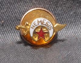 "VERY NICE ANTIQUE GOLD & ENAMEL SHRINER LAPEL PIN - LABELED ""NEMISIS - $59.39"