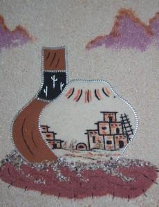 NAVAJO SAND ART NATIVE AMERICANA PAINTING ON MASONITE