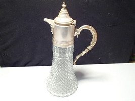 ANTIQUE DIAMOND PATTERN CLEAR GLASS SILVER PLATED CLARET PITCHER EWER JUG - $19.99