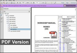 Isuzu Rodeo 1999 2000 2001 2002 Tf Series Oem Service Repair Workshop Fsm Manual - $14.95