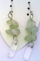 Fluorite Gemstone Nuggets And Crystal Silver Wire Earrings - $13.39