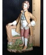 "Lefton Figurine Colonial  Man Vintage Porcelain 7"" Planter Vase Organize... - $35.00"