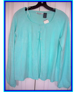 NWOT $44 Green Blue Aqua REFERENCE POINT 3 Top Button CARDIGAN Soft  Fin... - $24.74