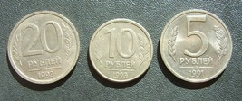 Russia Russia 20 & 10 & 5 Roubles Ruble 1992 - 1993 - 1991 - $2.39