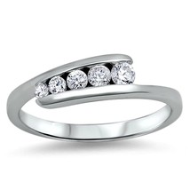 Sterling Silver ring size 5 CZ Journey Eternity Engagement Wedding Band ... - $14.40