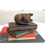 Sleeping Cat Over Books Solid Wood Carved Paper Weight Or Decoration. - $18.98