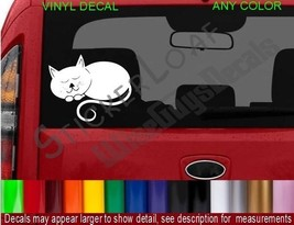 Cat Decal Kitten STICKER Sleepy Kitty Feline car truck decals stickers cats - $7.52