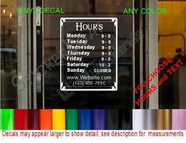 Store Hours custom SIGN WINDOW Door DECAL cafe deli restaurant boutique salon - $25.99+