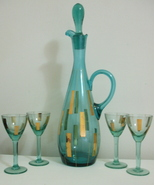 New Aqua Colored Glass Gold Accent Wine Decanter 4 Glasses - $95.95