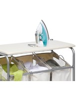 Laundry Sorter Ironing Board 3 Bin Rolling Clothes Hamper Mobile Iron Fo... - $74.49