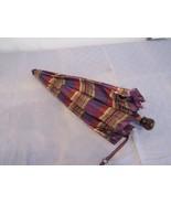 """Vintage 21"""" Acrylic Handle Wood Shaft Umbrella Purple Plaid Tartan - $44.58"""