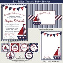 Little Sailor, Nautical, Baby Shower Party Package, Invitation, Personal... - $28.00
