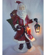 Large Ceramic Father Christmas Santa Statue Figure Lighted Lantern 20 In... - $89.95