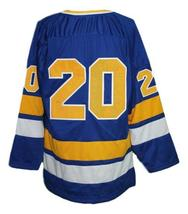 Custom Name Number Minnesota Fighting Saints Retro Hockey Jersey Blue #20 Any Si image 2
