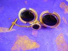 Extra Large Black Onyx Cufflinks Vintage Tie Tack Heirloom Estate Cuff Link Set  - $110.00