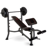 Weight Bench Press With 80lbs Plates Home Gym Workout Equipment Preacher... - $112.88