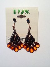 1928 Jewelry Antique Filigree Dangle Earring Set with Copper Crystals & Beads - $15.84