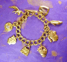 MOM Charm Bracelet Victorian Cherub Gold Filled 8 Inch Chain with Toggle... - $75.00
